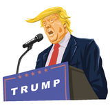 Donald Trump Giving A Speech. Vector Portrait Stock Image