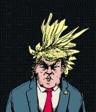 Donald Trump Hairdo Blowing Diagonally illustrazione vettoriale