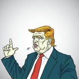 Donald Trump Headshot Shouting You ` aangaande In brand gestoken De Vector van het portretbeeldverhaal 2 juni, 2017 Royalty-vrije Stock Afbeelding