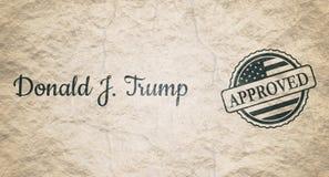 Donald Trump häfte och rubber stämpel Arkivbilder