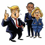 Donald Trump, Hillary Clinton, and Barack Obama. Cartoon Caricature Vector Illustration. June 29, 2017. Donald Trump, Hillary Clinton, and Barack Obama. Cartoon Stock Image