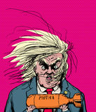 Donald Trump Holding Orange Bomb ilustración del vector