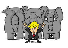 Donald Trump holding victory gestures while Republican elephant pose in see speak hear no evil postures. Donald Trump holding victory gestures while three Stock Image