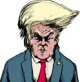 Donald Trump i Bouffant frisyr över vit vektor illustrationer