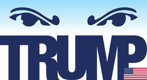 Donald Trump, illustratie en grafische uitwerking met naam en de vlag van de V.S. Stock Foto