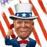 Donald Trump Illustration. 2 March 2017 - Ayvalık, Turkey: Donald Trump illustration with Uncle Sam Suit and flag Royalty Free Stock Photo