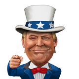 Donald Trump Illustration. 2 March 2017 - Ayvalık, Turkey: Donald Trump illustration with Uncle Sam Suit and flag Stock Photos