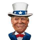 Donald Trump Illustration. 2 March 2017 - Ayvalık, Turkey: Donald Trump illustration with Uncle Sam Suit Stock Photo