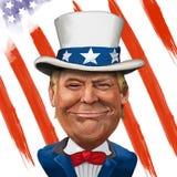 Donald Trump Illustration. 2 March 2017 - Ayvalık, Turkey: Donald Trump illustration with Uncle Sam Suit Royalty Free Stock Image