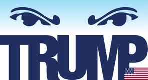 Donald Trump-, Illustrations- und Grafikausarbeitung mit Namen und US-Flagge Stockfoto