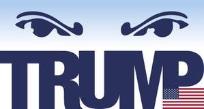 Donald Trump-, Illustrations- und Grafikausarbeitung mit Namen und US-Flagge Lizenzfreies Stockfoto