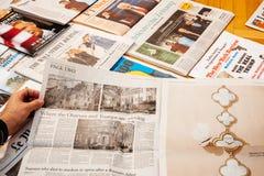 Donald Trump inauguration by major international newspaper journalism. PARIS, FRANCE - JAN 21, 2017: Major international newspaper Financial Times journalism royalty free stock images