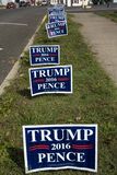 Donald Trump lawn signs line Virginia roadway before election for President in 2016, October 26, 2016 Stock Photos