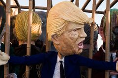 Donald trump mask at the carnival of viareggio royalty free stock images