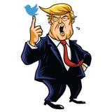 Donald Trump med hans blåa fågel den främmande tecknad filmkatten flyr illustrationtakvektorn Juni 15, 2017