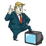 Donald Trump met Televisie De Vectorillustratie van de beeldverhaalkarikatuur 10 juli, 2017 Royalty-vrije Stock Foto