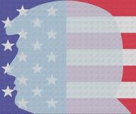 Donald Trump na frente da bandeira de América ilustração stock