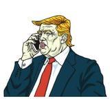 Donald Trump op Mobiele Telefoon Tekening van de beeldverhaal de Vectorillustratie 28 juli, 2017 Stock Afbeelding