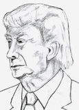 Donald Trump Pencil Sketch. Pencil Sketch of Donald Trump the President-elect of United States Royalty Free Stock Photo