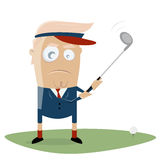Donald trump is playing golf. Clipart of donald trump is playing golf stock illustration