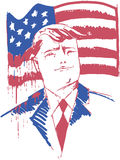 Donald Trump-portret met de aftappende vlag van de V.S. Royalty-vrije Stock Foto's