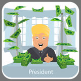 Donald Trump in the president a chair. On light background. Illustration eps 10 vector. At table about many money of dollars to. Donald Trump in the president a Royalty Free Illustration