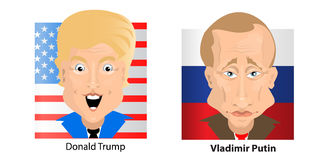 Donald Trump President Putin Vladimir. Donald Trump President of the United States and Putin Vladimir of Russia. Illustration for your design. bust. On a square Stock Image