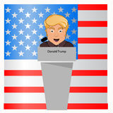 Donald trump the president a smile behind an interview tribune in the microphone. Elections of 2016. Fight success. Vector illustr. Ation. Against the background Royalty Free Stock Photography