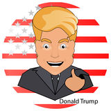 Donald trump the president a smile  finger up  victory elections of 2016 against the background  the flag stylized America on  whi Stock Photos
