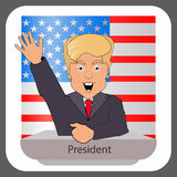 Donald trump president smile hand up elections of 2016. Presidential chair. Fight success. Against the background the American fl royalty free illustration