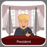 Donald trump president smile victory finger up elections of 2016. Presidential chair. Fight success. Vector illustration. Round ov. Al presidential room Stock Photography