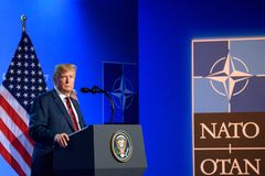 Donald Trump, President of United States of America, during press conference at NATO SUMMIT 2018. 12.07.2018. BRUSSELS, BELGIUM. Press conference of Donald Trump royalty free stock images