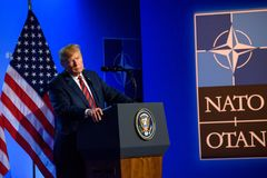 Donald Trump, President of United States of America, during press conference at NATO SUMMIT 2018. 12.07.2018. BRUSSELS, BELGIUM. Press conference of Donald Trump stock photos