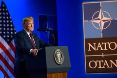 Donald Trump, President of United States of America, during press conference at NATO SUMMIT 2018. 12.07.2018. BRUSSELS, BELGIUM. Press conference of Donald Trump royalty free stock photos