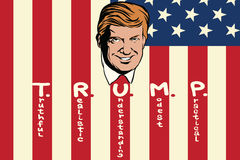 Donald Trump President of the United States. Truthful realistic understanding modest practical. Retro comic book style pop art retro illustration color vector Stock Images