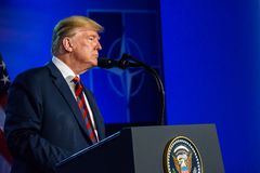 Donald Trump, during press conference. 12.07.2018. BRUSSELS, BELGIUM. Press conference of Donald Trump, President of United States of America, during NATO North royalty free stock photos