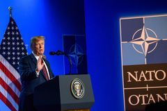 Donald Trump, during press conference. 12.07.2018. BRUSSELS, BELGIUM. Press conference of Donald Trump, President of United States of America, during NATO North royalty free stock photography