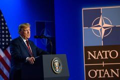 Donald Trump, during press conference. 12.07.2018. BRUSSELS, BELGIUM. Press conference of Donald Trump, President of United States of America, during NATO North royalty free stock images