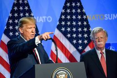 Donald Trump at press conference, during NATO SUMMIT 2018. 12.07.2018. BRUSSELS, BELGIUM. Press conference of Donald Trump, President of United States of America stock image
