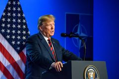 Donald Trump at press conference, during NATO SUMMIT 2018. 12.07.2018. BRUSSELS, BELGIUM. Press conference of Donald Trump, President of United States of America royalty free stock image