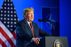 Donald Trump at press conference, during NATO SUMMIT 2018. 12.07.2018. BRUSSELS, BELGIUM. Press conference of Donald Trump, President of United States of America stock photos