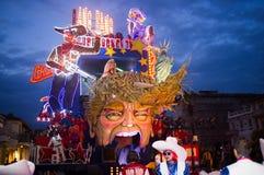Donald trump represented satirically in Viareggio's Carnival. VIAREGGIO,ITALY-FEB.12.: first parade of the 2017 viareggio0's carnival, with typical float parades royalty free stock image