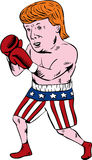 Donald Trump 2016 Republican Boxer. Illustration showing American real estate magnate, television personality, politician and Republican 2016 presidential stock illustration