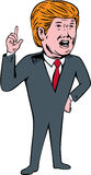 Donald Trump Republican Candidate Cartoon. Illustration showing American real estate magnate, television personality, politician and Republican 2016 presidential Royalty Free Stock Photos