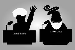 Donald Trump and Santa Claus of a tribune silhouettes an icon for  interview,  hand up. speaker   press conference. The microphone Royalty Free Stock Photography