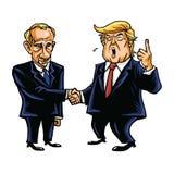 Donald Trump Shakes Hands with Vladimir Putin. Cartoon Caricature Vector Illustration. October 26, 2017. Donald Trump Shakes Hands with Vladimir Putin. Cartoon Stock Image