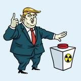 Donald Trump Shouting en Klaar om de Rode Knoop te duwen De vectorillustratie van het beeldverhaal 3 mei, 2017 Stock Afbeeldingen