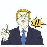 Donald Trump Shouting Vectorpop-artillustratie 30 september, 2017 Royalty-vrije Stock Afbeeldingen