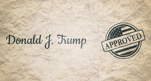 Donald Trump signature and rubber stamp. USA - January 16, 2017: An illustration of a US President Donald Trump signature and rubber stamp. Approved text. Grunge Stock Images