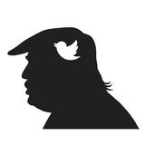 Donald Trump Silhouette and Social Media Icon. Vector Illustration Stock Photography